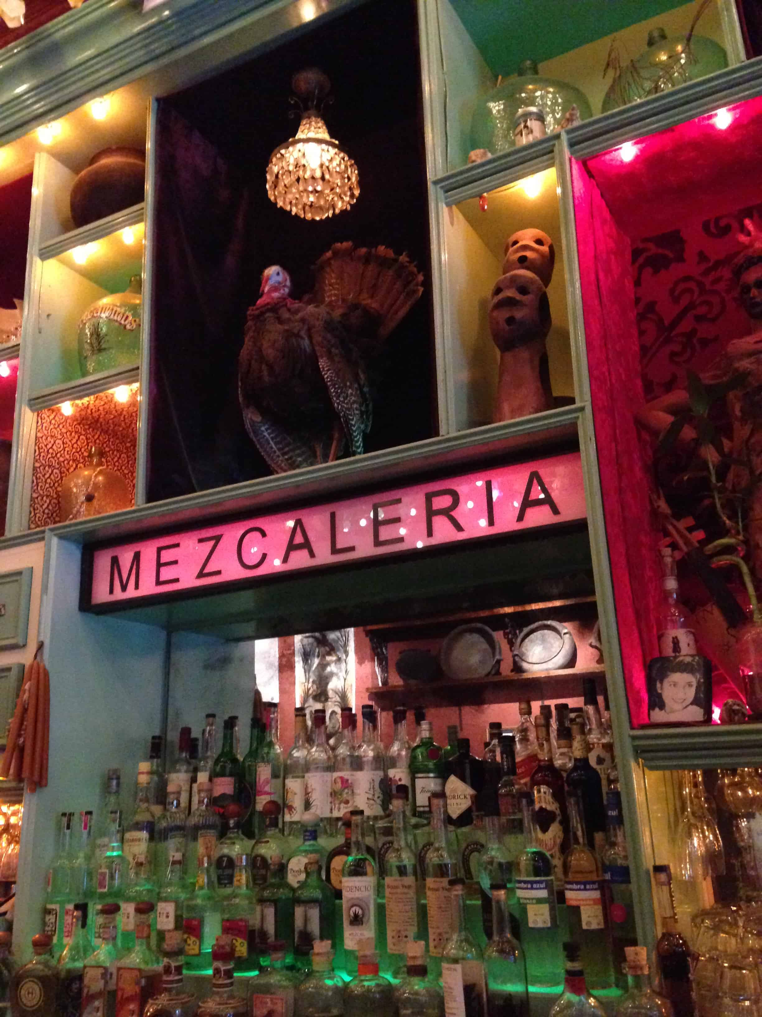 The bar at Casa Mezcal, the Los Amantes project in Manhattan.