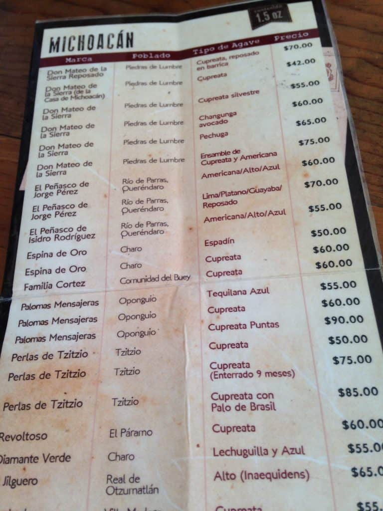 The mezcal menu from a restaurant in Morelia.