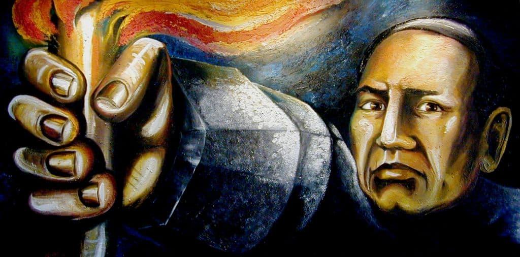 A mural of Benito Juarez by Jesús Cristóbal Flores Carmona.