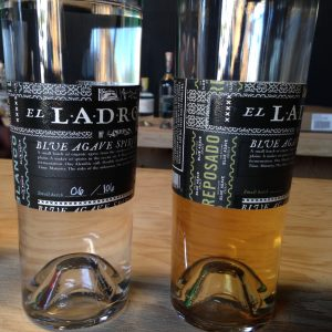 Venus Spirits' agave spirit, El Ladrón blanco, left, reposado, right.