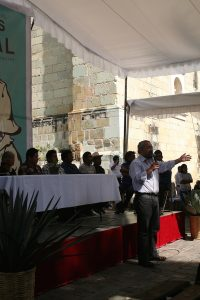Abel Alcántara at the first meeting of the Civil Association of Maestros de Mezcal in Oaxaca December 2014