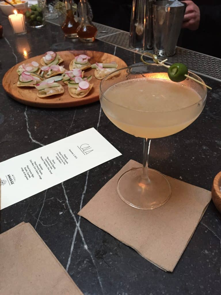 The Cala halibut aguachiles and their unique martini.
