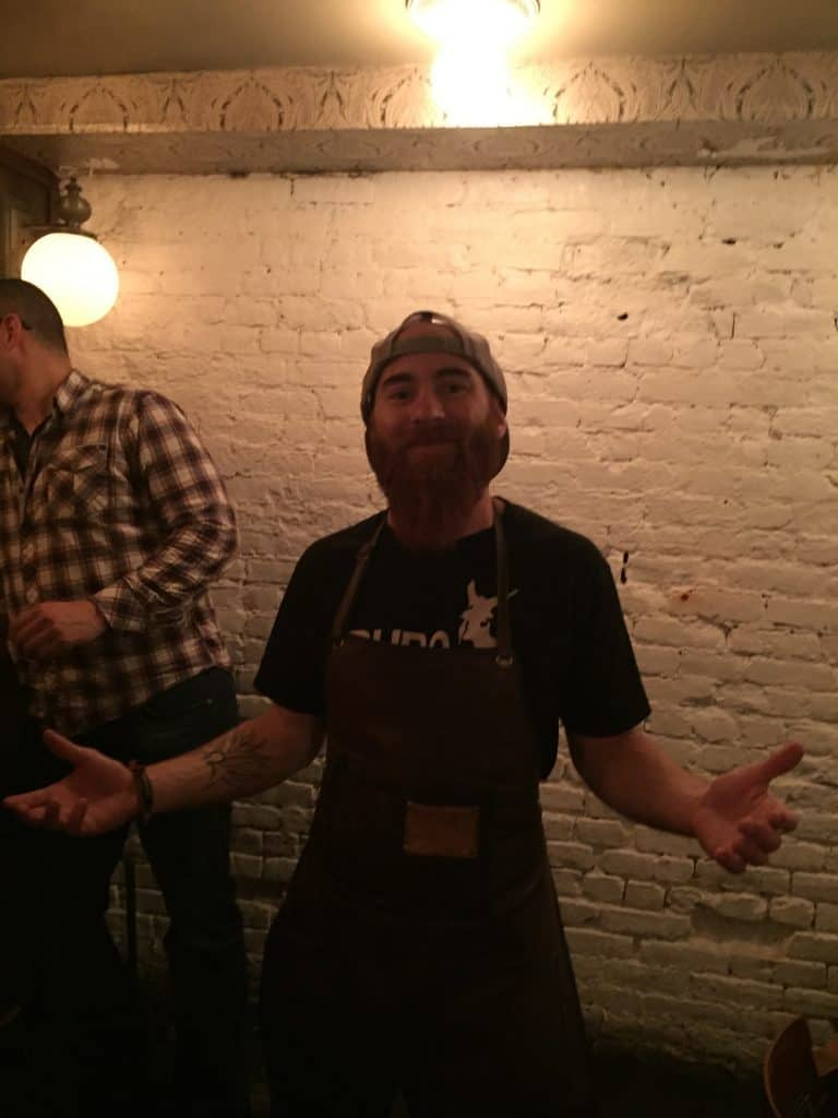 Eric Giardina during the 2015 Mezcalicious Cocktail Competition at Devil's Acre. Photo by Max Garrone
