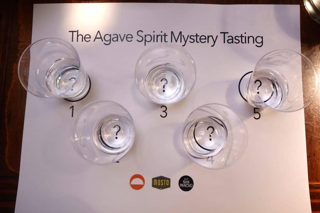 The Agave Spirit Mystery Tasting set up. Photo by Ferron Salniker.