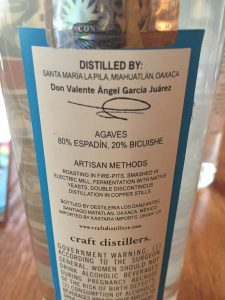 The back label of the San Andres Ensamble.