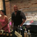 Danny Woods pouring for Fidencio, Mezcal Koch, La Venenosa and Allende
