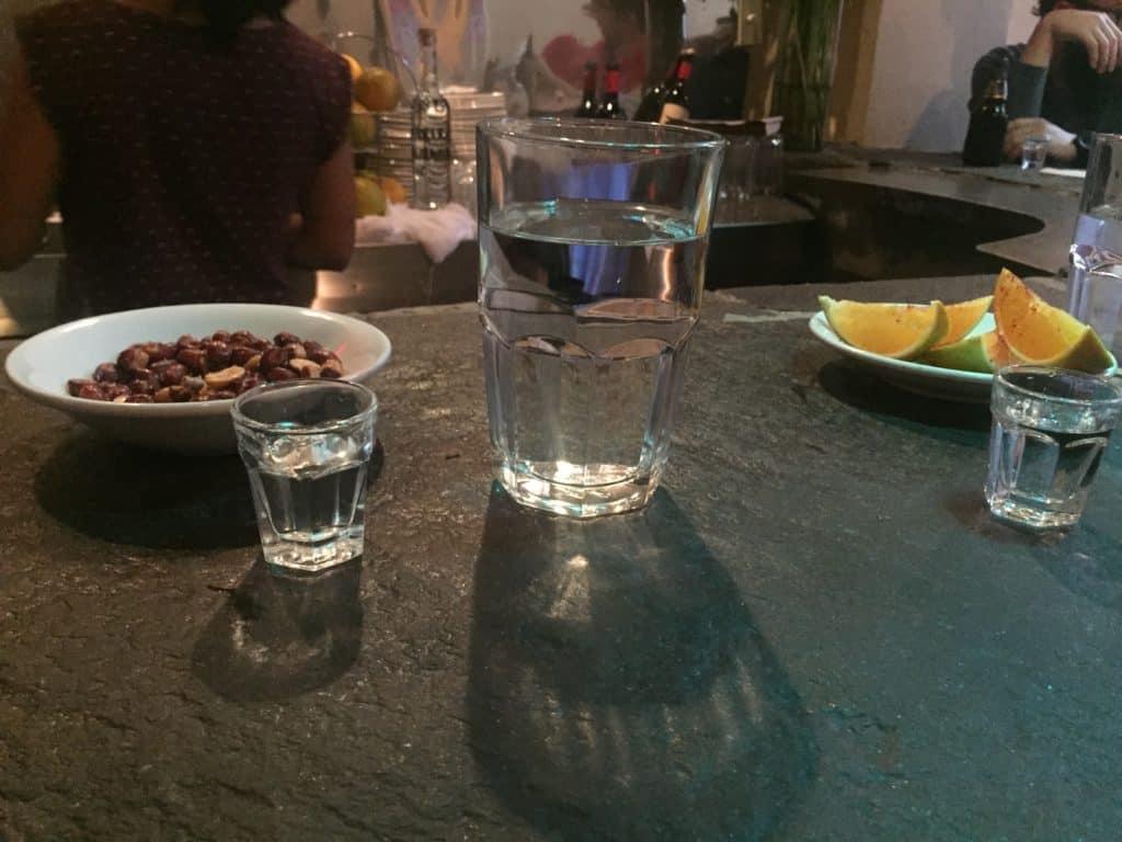 The bar at mezcaleria Bosforo in Mexico City