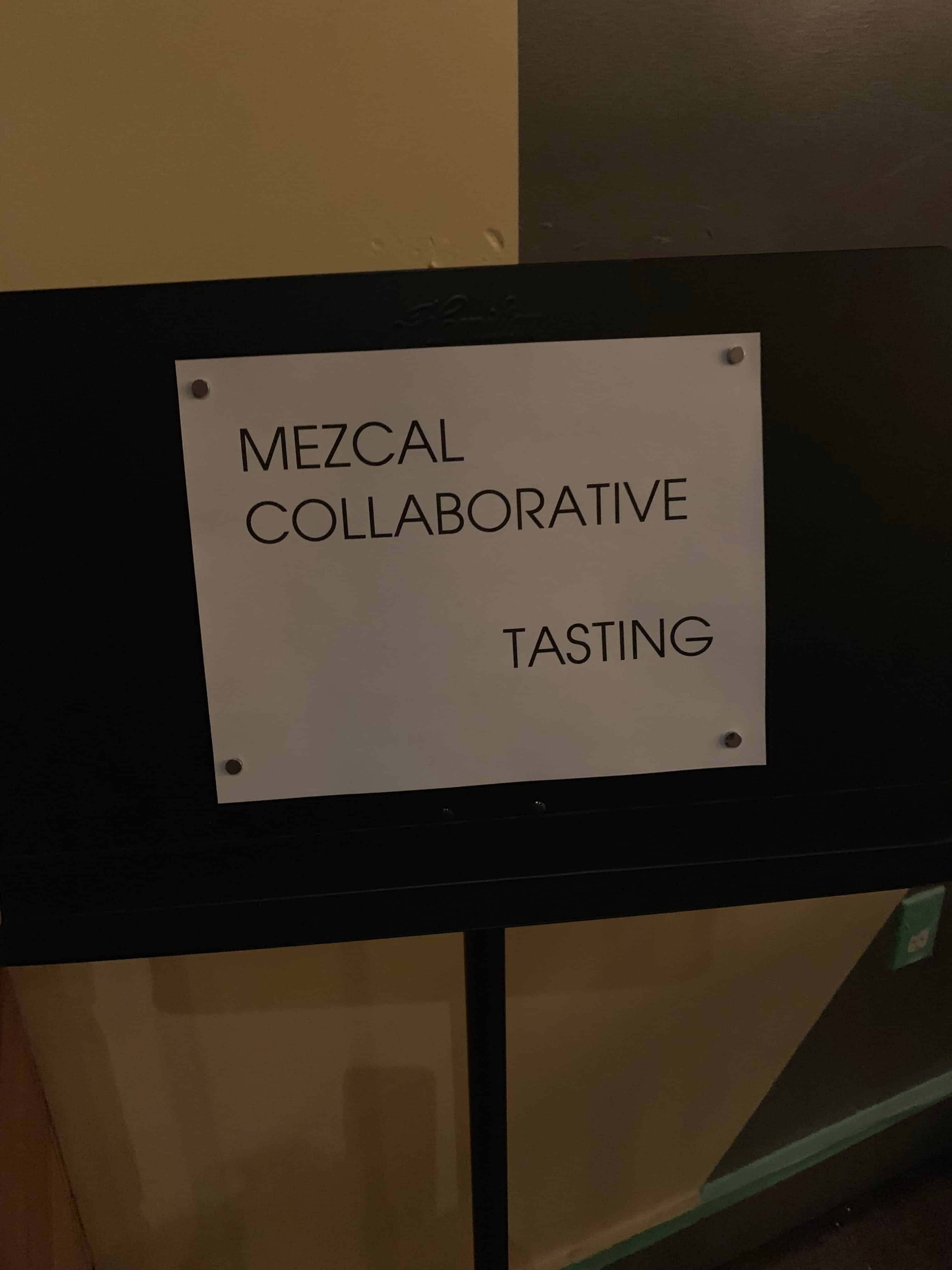 A sign for the blind tasting.