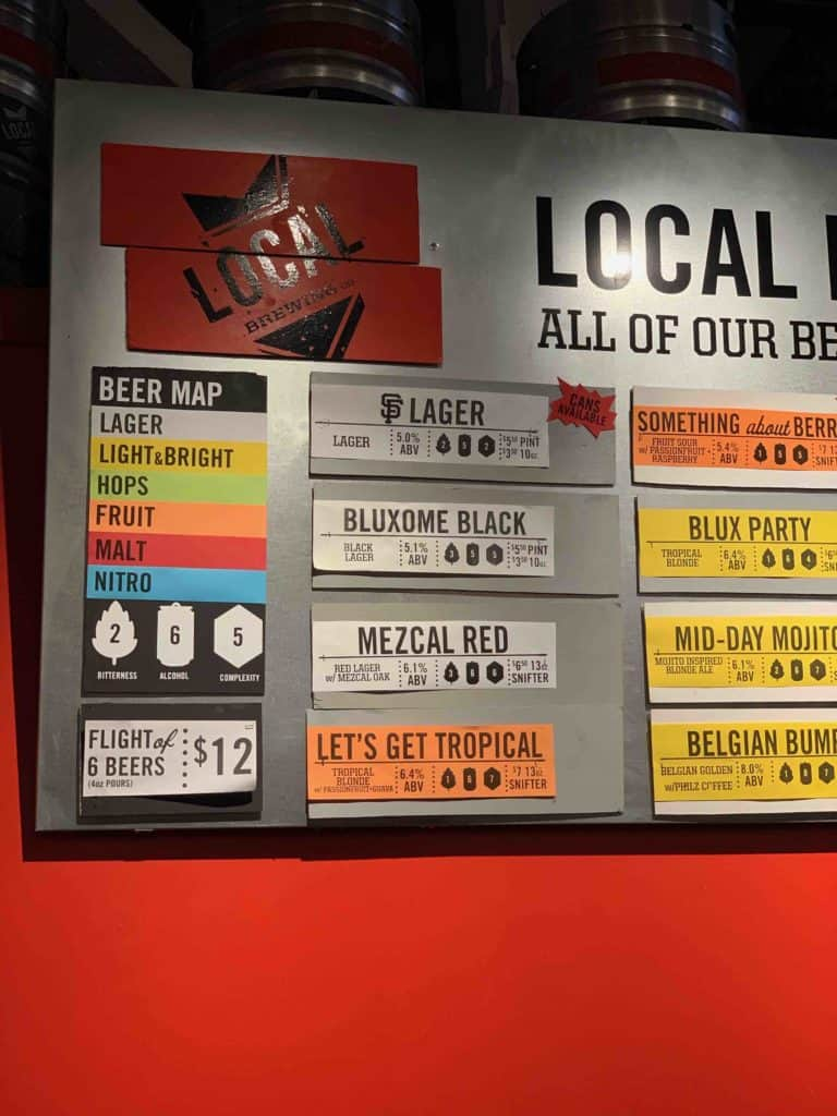 Local Brewing's beer board